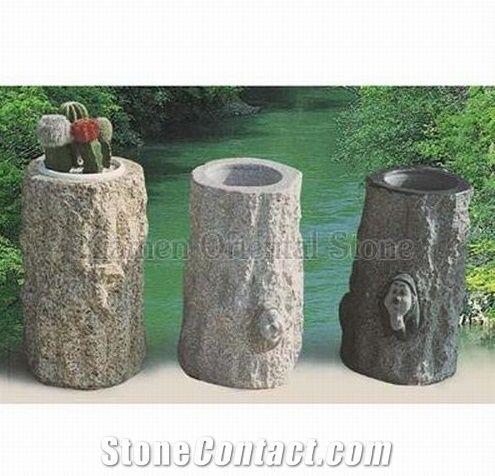 China Grey Granite Garden Landscaping Stones Flower Pots Outdoor