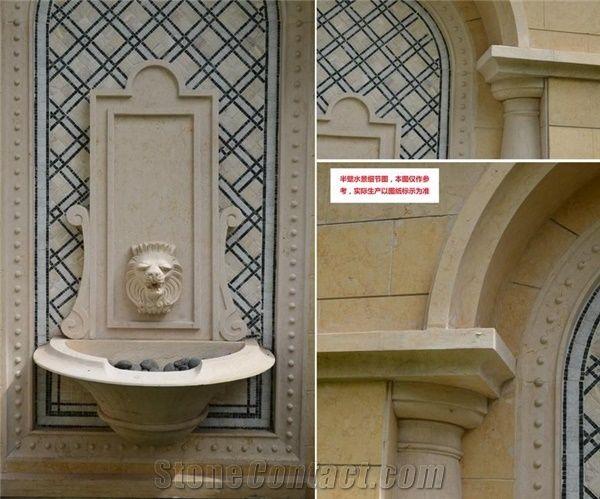 Galala Beige Marble Garden Sculptured, Outdoor Wall Mounted Water Fountains