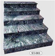 Granite Marble Steps, Stone Deck Stair, Stair Riser, Indoor Stair Treads, Outdoor Staircase, Julian Jade Green Marble Stair Treads