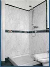 Bianco Lasa Vena Oro Marble and Verde Alpi Scuro Marble Bathroom Design