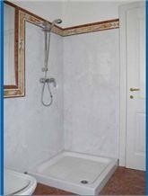 Statuario Altissimo Marble and Calacatta Siena Marble Bathroom Design