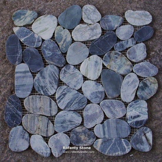 Rf Blue Marmor Slice Pebble Mosaic From
