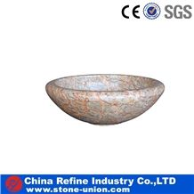 Pink Nature Marble Round Shape Bath Basins, Pink Marble Sinks & Basins