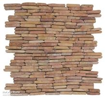 Stacked Opus Pink Marble Wall Mosaic on Mesh