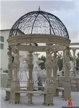 Beige Marble Gazebo with Cast Iron Roof for Garden, Yellow Cream Beige Marble Gazebo