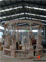 Marble Garden Stone Gazebo with Iron Roof for Outdoor Decoration, Wanxia Red Pink Marble Gazebo