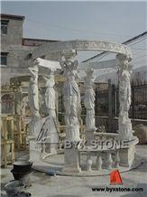 Marble Lady Carving Garden Gazebo for Outdoor Decoration, Hunan White Marble Garden Gazebo