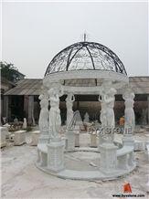 Marble Stone Carving Sculpture Garden Gazebo for Outdoor, Hunan White Marble Garden Gazebo