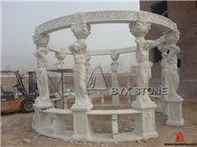 White Marble Carving Garden Gazebo for Outdoor Decoration, Hunan White Marble Garden Gazebo