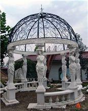 White Marble Garden Gazebo Iron Roof with Sculpture Pillars, Hunan White Marble Garden Gazebo