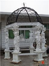 White Marble Gazebo with Cast Iron Roof for Out Decoration, Hunan White Marble Gazebo