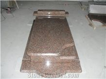 China Cheap Popular G562 Maple Guilin Red Granite Tombstones, Monument Design, Single for Poland Market, Western Style Gravestone, Cemetery Funeral Stone Use, Family Tombstones