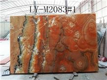 Flower Flame Onyx Nice Slab Top Grade Material High Quality Polishing Walling and Flooring Covering High Quality and Best Price Fast Delivery