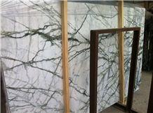 Hot Sale Polished Rain Forest White Marble Slab Natrual Stone/Green White Marble Slab