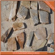 Random Size Castle Stone, Yellow Quartzite Cultured Stone Wall