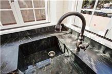Amazon Soapstone Countertop with Corner Farm Sink