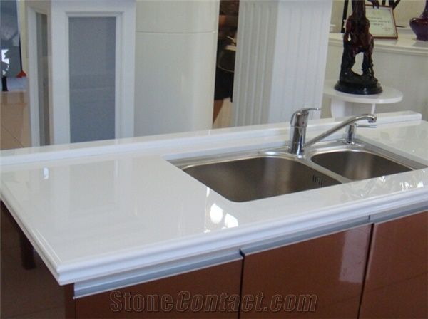 Pure White Nano Crystallized Glass Bathroom Countertop Artificial - Fake marble bathroom countertops
