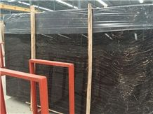 European Network Red Vein Black Marble Slabs & Tiles, China Black Marble