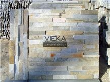 Beige Yellow Slate Mix P014b-1 Culture Stone/Wall Panel Ledge Stone/Veneer/Stacked Stone for Wall Cladding 60x15cm Retangle
