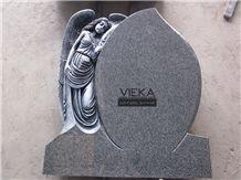 G654 Granite Tombstone & Monument,China Black Granite Gravestone & Angel Headstone Sesame Black China Impala Padang Black Pingnan Zhima Hei China Nero New Impala Dark Grey