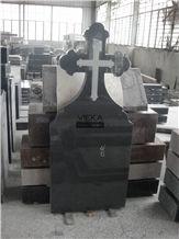 G654 Granite Tombstone & Monument,China Black Granite Gravestone & Cross Headstone Sesame Black China impala Padang Black pingnan zhima hei china nero new impala dark grey for Romania