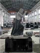 Shanxi Black Granite Tombstone & Monument,Memorials,Gravestone & Jesus Sculpture Cross Headstone Produce for Poland Client