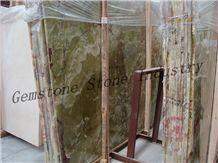 Polished Onyx Slab & Tile, Pakistan Green Onyx