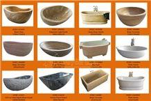 Wooden Vein Marble Stone Bathtub