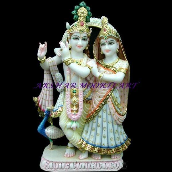 Makrana Albeta Marble Radha Krishna Statue From India