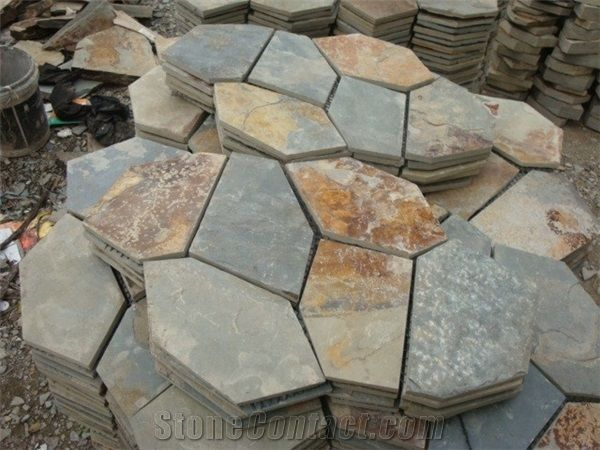 Wellest Rusty Brown Multi Color Slate Meshed Paving Stone Exterior Landscape Flagstone