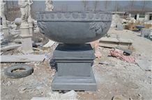 China Grey Limestone Flower Pot