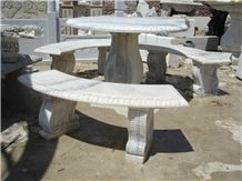 China White Marble Table & Bench