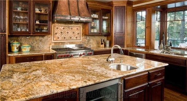 Juparana Persa Granite Kitchen Island Countertop From