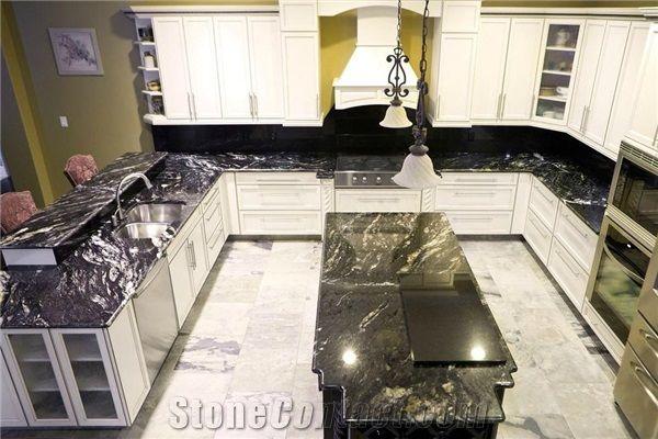 Black Titanium Granite Bullnose Kitchen Countertops And