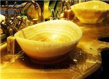Orange Bojnord Onyx Carved Bath Tub