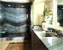Azul Do Mar Quartzite Bathroom Vanity Top and Shower Wall