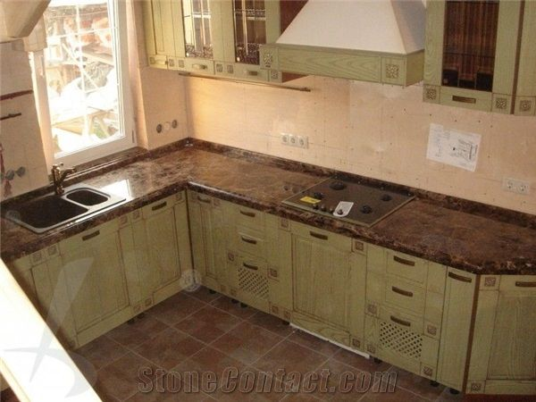emperador dark marble kitchen countertop