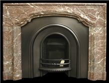 Antique Mid Victorian French Rouge Marble Bolection Mould Fireplace Surround