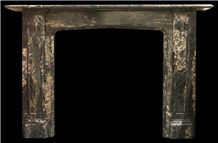 Early Antique Victorian Portoro Marble Fireplace in the Gothic Manner