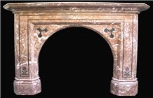 Magnificent Antique Mid Victorian Rosso Francia Marble Fireplace