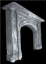 Reclaimed Victorian Gothic Irish Grey Marble Fireplace