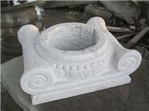 China White Granite Columns,Column Tops and Bases