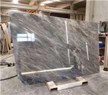 Grey Galaxy Ocean Marble High Glossy Polished Slabs, Grey Marble with Veins Machine Cutting Tiles French Pattern