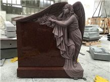 China Factory Direct Ruby Red, Inidan Red Granite Engraved Angel with Wings Tombstone Die and Base One Piece, Cemetery Monument Special Design