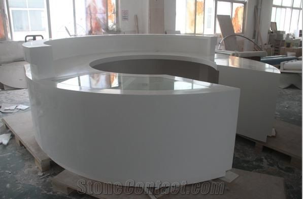 White High Gloss Round Table Tops Artificial Stone