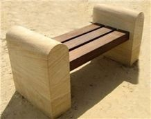 Teak Wood Sandstone Bench and Tables, Yellow Sandstone Tables
