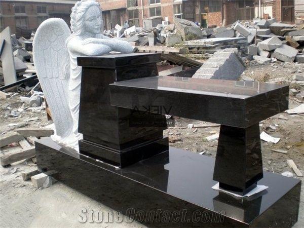 Shanxi Black Granite Tombstone Monument Memorials