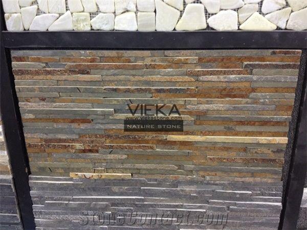 Slate Quartzite Culture Stone Panel Wall Ledge Veneer Stacked For Cladding 60x15cm Retangle Rusty Glue 8 Line