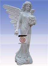 Hand Carved White Jade Marble Angel Statue