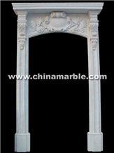 Hand Carved White Marble Door Surround